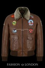 'TOP GUN' Men's Vintage Tan G1Style Bomber Aviator Pilot Lambskin Leather Jacket