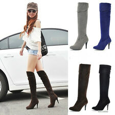 New Style Womens Ladies Sexy High Heel Boots Knee High Shoes AU All Size Y039