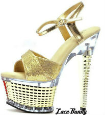 "Exotic Dance shoes,649-Disco, 6"", gold, size 5-10, stripper shoes, Ellie, strapy"