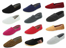 New Womens Ballet Flats Canvas Slip On Shoes Casual Slippers Sparkle Ladies USA