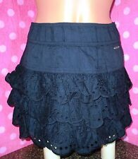 NWT! Hollister Bettys Navy Blue Eyelet Ruffle Mini Skirt UK 4/6 & 10/12 FREE P&P