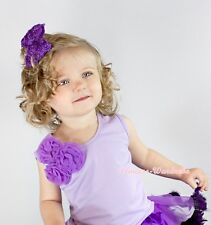 Lavender Tank Top Pettitop Vest Shirt a Bunch Purple Rosettes for Girl NB-8Year