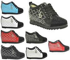 NEW KIDS GIRLS ALL COLOURS LACES HIDDEN WEDGE INFANT PUMPS TRAINERS SIZE 8-2