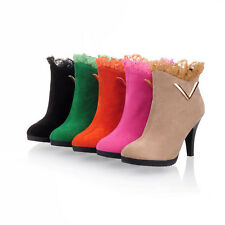 New Fashion Velvet Sexy Lady Womens High Heel Ankle Boots Shoes