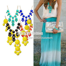 jwn11 Celeb Style Vintage Geometric Candy Coloured Bubble Bib Collar Necklace