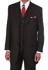 NWT Men's Boss Classic Pinstripe Suits w/Vest Black with Red Stitching  5903