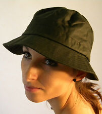 Brand New Quality Wax Cotton Country Shooting Bush Bucket Hat Olive Green