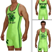 Singlet, WRESTLING IS MY CRAFT, green w/CUSTOM TEXT included on back