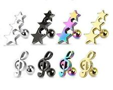 New Ear Cartilage Earring Tragus Bar 316L Surgical Steel Stars or Treble Clef