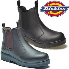 MENS DICKIES LEATHER DEALER SLIP ON STEEL SAFETY CHELSEA WORK BOOTS SHOES 6-12