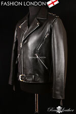 'GHOST RIDER' Mens Black Motorcycle Cruiser Movie Real Hide Leather Jacket