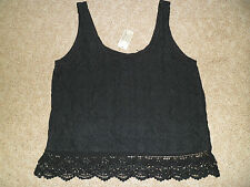 NWT Womens AE Lace Tank Top  Black & Light Pink