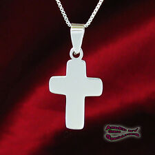 Small Rounded Cross in SOLID Sterling Silver  - YOUR CHOICE of CHAIN!