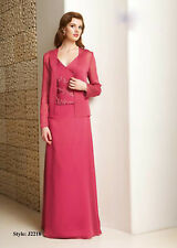 Hot Pink Full Length Chiffon MOTHER OF BRIDE OUTFIT SIZE 18,20,22,24,26,28#