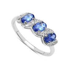 9CT WHITE GOLD TANZANITE & DIAMOND ETERNITY ENGAGEMENT RING ANNIVERSARY GIFT