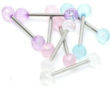 New Novelty Surgical Steel Tongue Bar Barbell with Acrylic Disco Balls 16mm