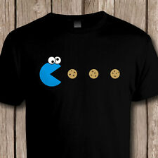 Funny 80s PACMAN Cookie Monster RETRO GAMING MENS T-SHIRT  - Classic Video Games