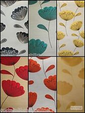 Chess Designs Poppies Orange,Black,Lime Designer Upholstery Curtain Fabric Roll