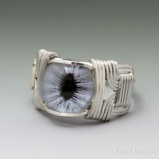 Blue Glass Cat Eye Eyeball Cabochon Sterling Silver Wire Wrapped Ring ANY Size