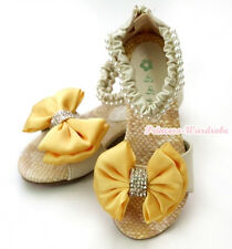 Beige Pearl Rhinestone Mustard Yellow Bow Party Wedding Kid Girl Sandals 2688-39