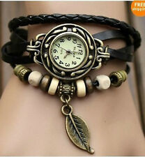 Fashion 6 Color Quartz Weave WRAP Around Leather Bracelet Lady Woman Wrist Watch