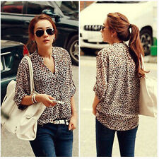 NEW Fashion Sexy Women Leopard Chiffon Long Sleeve Shirt Blouse Collar Tops Lady