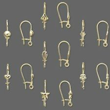 Lot of 100 Gold Plated Kidney Earring Findings With Fancy Accent and Open Loop