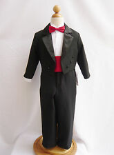 BOY YOUTH TODDLER RING BEARER PARTY BLACK TUXEDO SUIT WITH TAIL COLOR CUMMERBUND