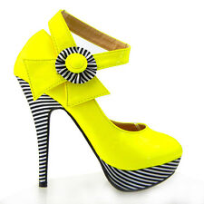 New Yellow Flower Ankle Strap Stripe Platform EVE Pumps Au Size 4/5/6/7/8/9/9.5