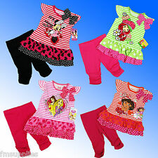Girls Disney Minnie Mouse Dora Dress Tunic Top Leggings Outfit Set Age 2-7 Years