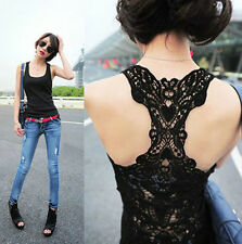 Women's Sexy Lace Flower Tank Top Sexy Cami Sleeveless Casual Cotton T-Shirt