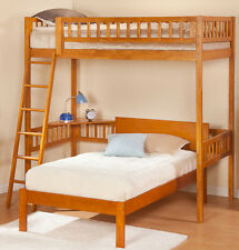 Loft with Corner Workstation Twin - Caramel Finish Solid Wood Bunk Bed
