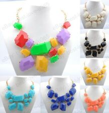 New Fashion Women's Charms Geometry Pendants Gold Plated Resin Bib Necklace