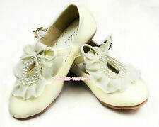 Beige Cream White Pearl Ruffle Bow Flower Girl Kids Wedding Party Shoes E66-146