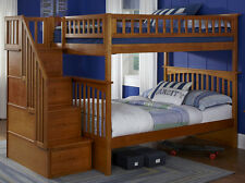 Staircase Bunk Bed with Stairs Full over Full Storage Stairway w/ Trundle Option
