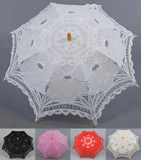 Handmade Flower Girl Kids Lace Cotton Sun Parasol Umbrella Photo Props Shower