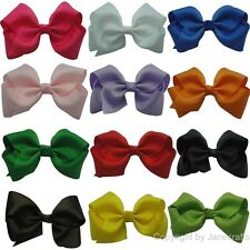 "12pcs 3.5"" Girl Baby Classic Boutique Hair Chunky Bow Wholesale Mix 12 Color"