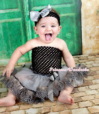 Black Crochet Tube Top with Grey Peacock Feather Baby Newborn Pettiskirt NB-3Y