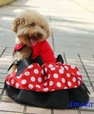 Minnie Mouse Costume Small Pet Dog Cat Clothes Xmas Red Polka Dots Party Dress