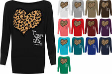 New Womens Plus Size Leopard Animal Heart Print Ladies Batwing Sleeve Top 16-26