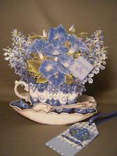 Handmade Greeting Card - Blue Flowers Teacup Multi-occasion