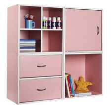 Storage Cube Bedroom Play Room Drawer Shelves Stacking Storage System Pink