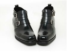 STORE IN KOREA.  Mens real leather  BUCKLES side zip ankle boots BLACK   (m 149)