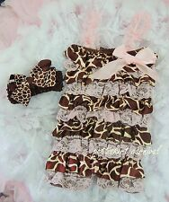 Newborn Baby Girls Light Pink Giraffe Lace Petti Rompers Straps Bow Headband 3pc