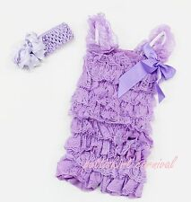 Newborn Baby Girl Lavender Lace Petti Rompers Straps Polka Dot Bow Headband 3pc