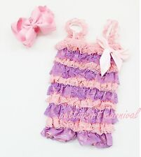 Newborn Baby Girl Lavender Light Pink Lace Petti Rompers Straps Bow Headband 2pc