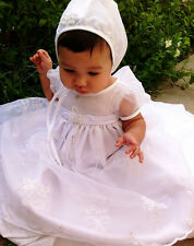 Girl Christening Baptism Satin Organza Layered Bow Dress Gown 0-24M USA Made