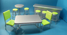 dolls house miniature 1950'sstyle counter/ bar & tables & green chairs 3 to pick