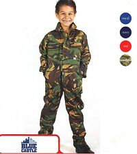Kids Boy Girls Junior Tearaway Boilersuits Camouflage Overall Coverall