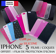 LOT DESTOCKAGE REVENDEUR 50 Coque Etui cuir silicone  Iphone 5 à partir de 0.39€